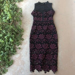 Romeo + Juliet Mock Neck Floral Lace Overlay Dress